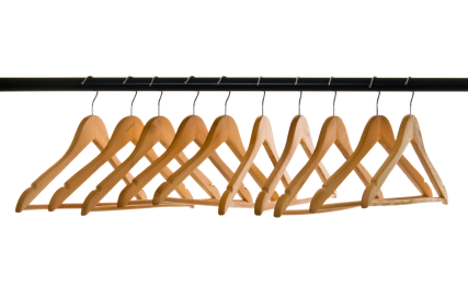 Row of wooden empty hangers
