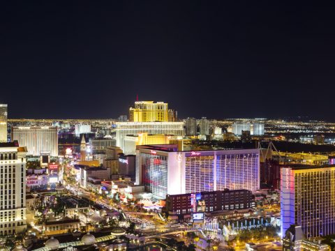 High angle view of the Las Vegas strip at night.