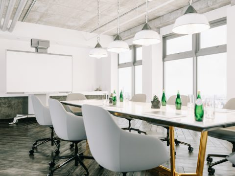 Modern Meeting Room With Interactive Projection Screen